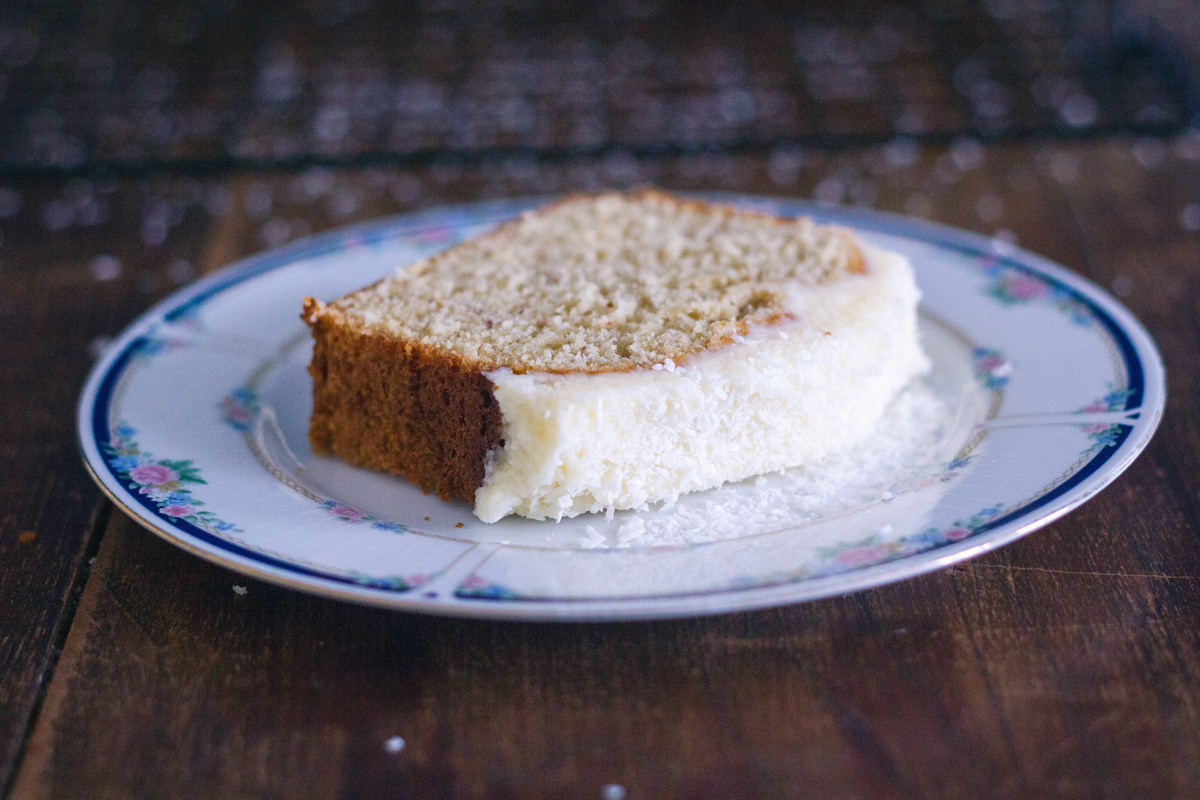 Banana bread with coconut frosting