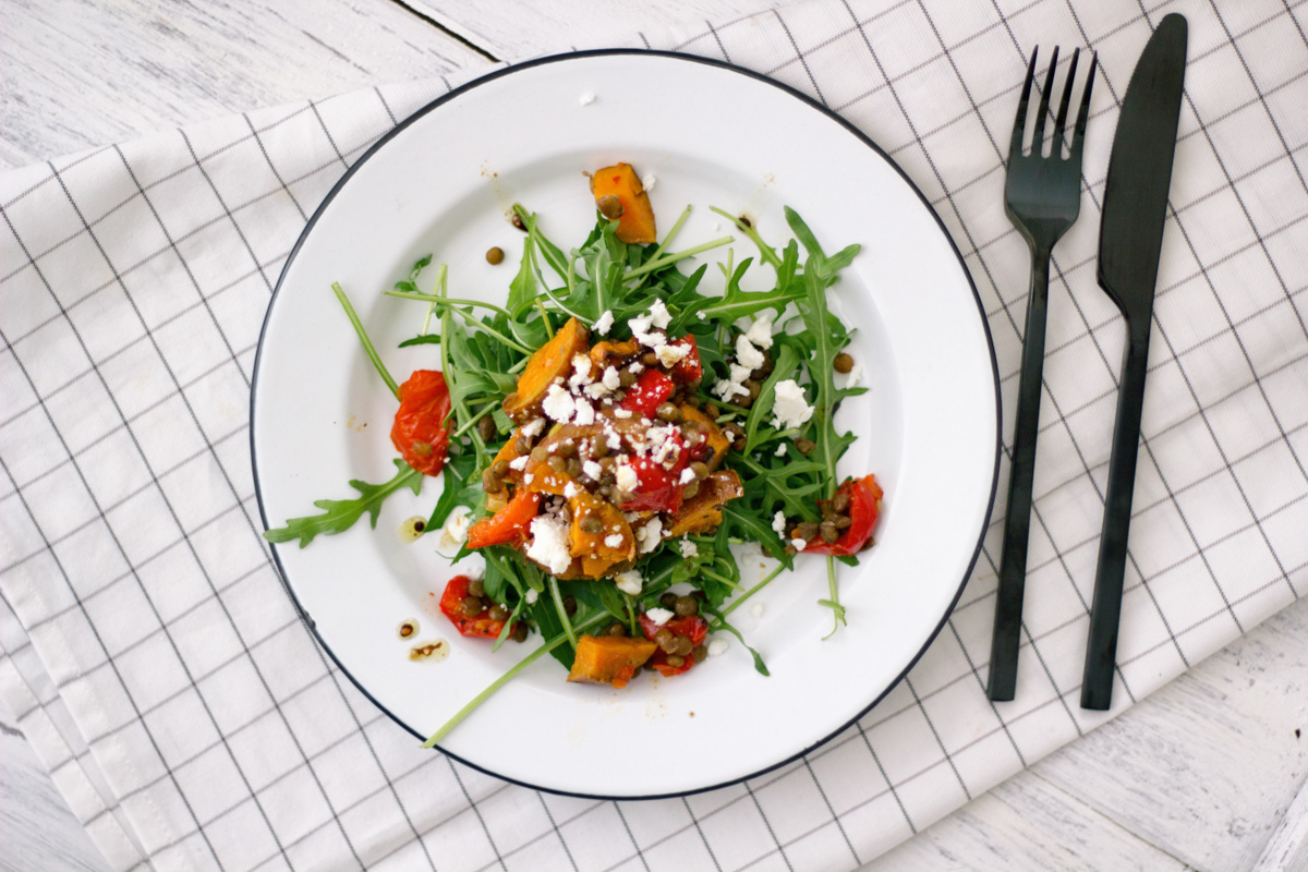 Lentil Salad with sweet potato and feta